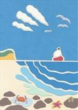 At the Seaside by Claire Bergin, Drawing, Paper Cut