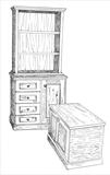 Cabinets by Claire Bergin, Drawing, Pen on Paper